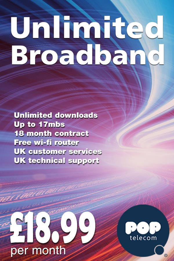 Pop Telecom - Unlimited Broadband, £18.99 a month